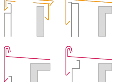 Borde de cubierta formado por dos piezas